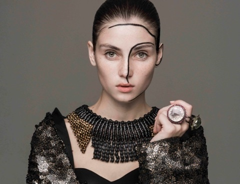 Votre Beaute January 2013    Maria Mastori   Necklace , Rings.  Foto - Thanasis Krikis  Editor - Nicholas Georghiou