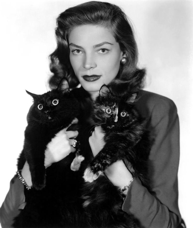 Lauren Bacall From the forties, the future Mrs. Bogart poses with two black cats.  Photo: REX USA/C.Everett
