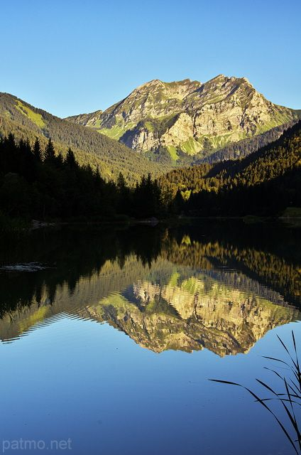 Vallon lake and Roc d'Enfer mountain. France, Haute Savoie department.