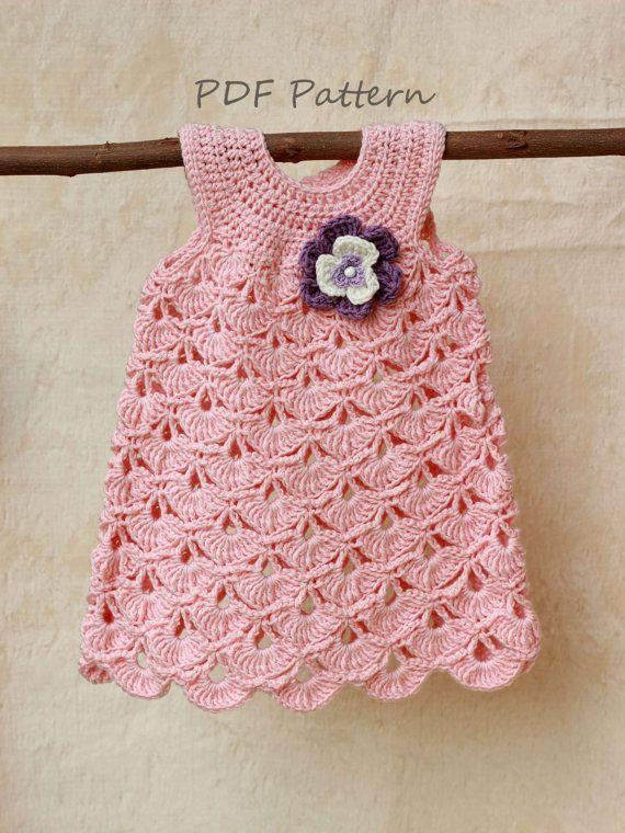 Crochet Baby Dress Crochet pattern, Baptism baby girl dress pattern, Christenin...