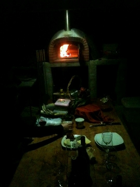Pizza oven at night