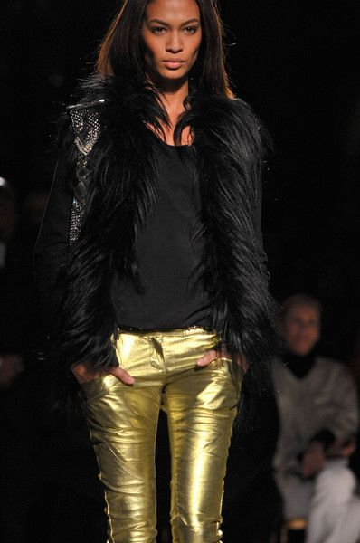 Balmain Fall 2011 - Details gold leather jeans and black fur jacket