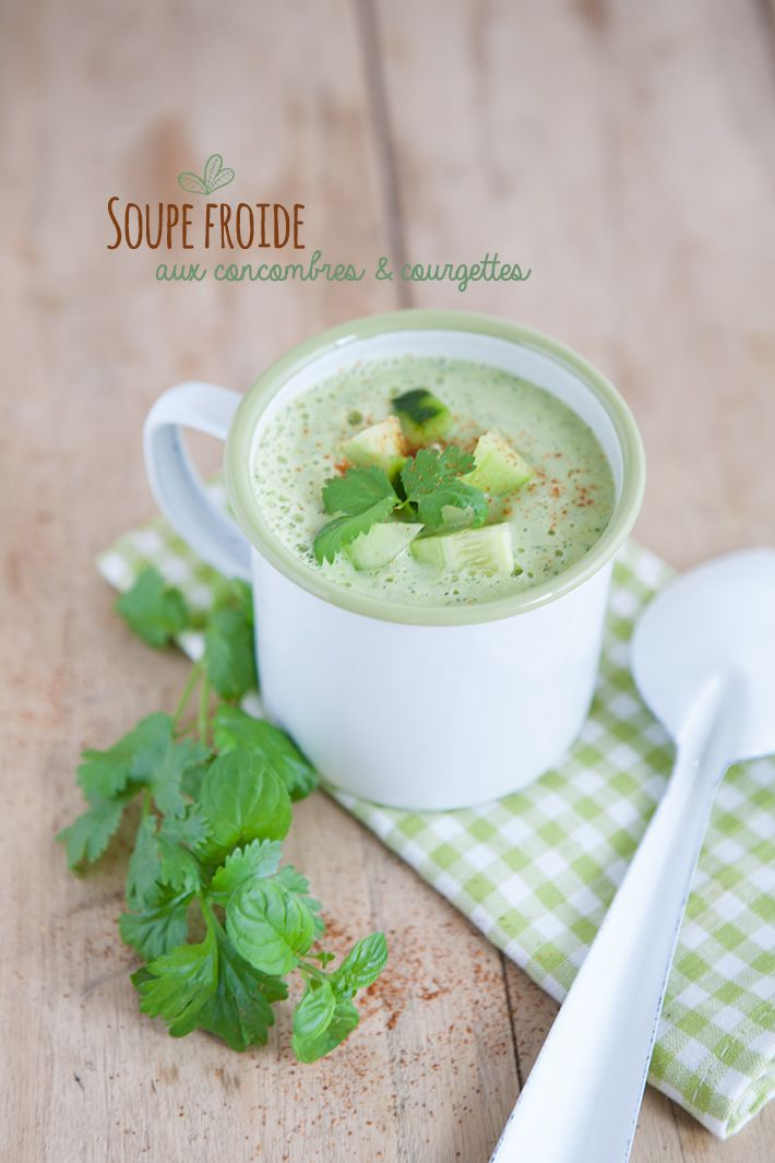 Soupe froide de concombres et courgettes - Pop and Soda - hot soup of cucumber and melanzane plus sour cream