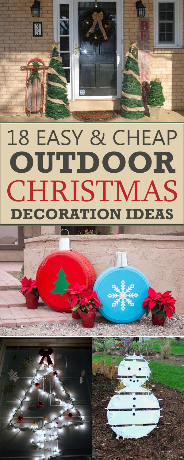 18 easy and cheap diy outdoor christmas decoration ideas for Simple outside christmas lights ideas