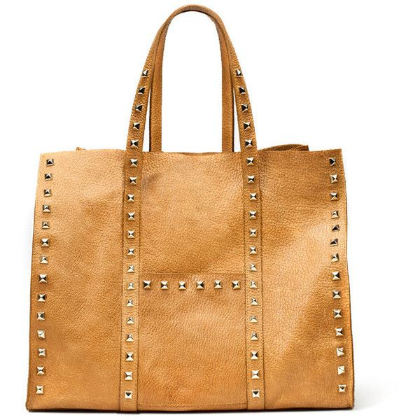 Studded Leather Shopper (370 BAM) ❤ liked on Polyvore featuring bags, handbags, tote bags, zara, shopping bag, zara shopper, studded leather purse, zara tote and shopper handbags