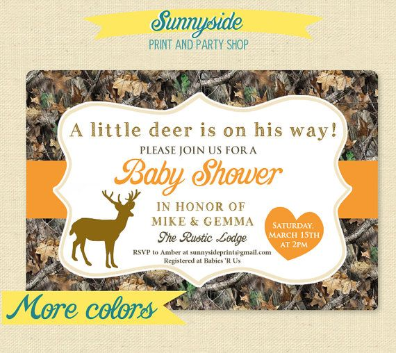 Little Deer Hunter - Camo / Camouflage Baby Shower Invitation - Printable Invite on Etsy, $14.00