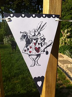 Seasonal Alice in Wonderland Bunting  Mad Hatter Tea Party