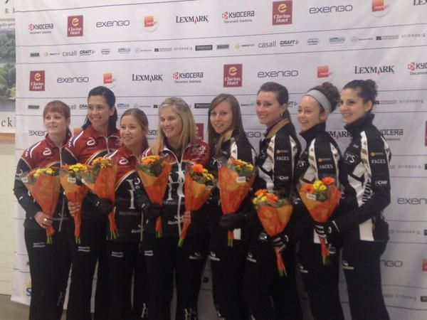 Team homan and team Jones at the Stockholm ladies cup. Jones is third and homan is second