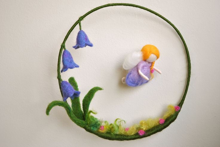 Waldorf inspired needle felted girls mobile: The blue bell flowers little fairy. $70.00, via Etsy.