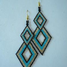"""Boucles d'oreilles en tissage brick stitch motif """"losanges raffinés"""" vert turquoise"""