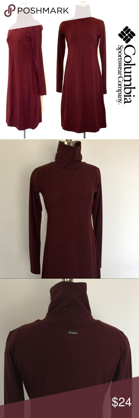 """Columbia Turtleneck Dress Classic Columbia long sleeve turtleneck dress is flattering and comfortable with an empire waist and mid-length that looks great on any figure. Deep maroon. Like new! No flaws. Length: 37"""" • Bust: 16"""" • Waist: 14"""" 95% Cotton / 5% Elastane Columbia Dresses Long Sleeve"""