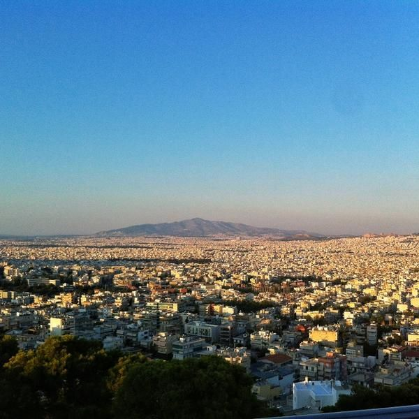 Telescope (Haidari, Athens Greece). One of the best views in Athens!! Reasonable prices and works as a restaurant and as a cafe (cappuccino: 3,5 euro). Warning: only reachable by car since it is built on the top of a hill. But it's worth it!