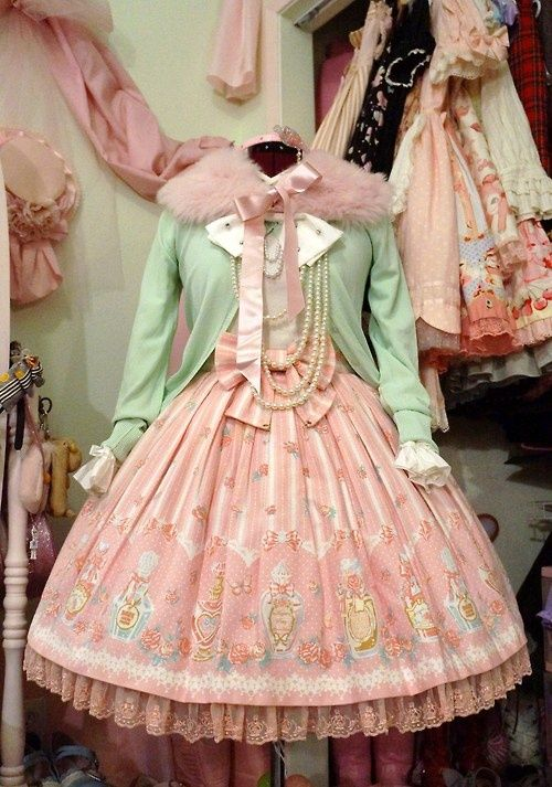 Mint and Pink Lolita coordinate