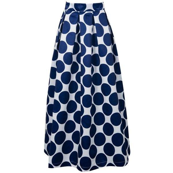 Polka Dot Print Maxi Skirt (65 CAD) ❤ liked on Polyvore featuring skirts, floor length skirts, blue skirt, blue maxi skirt, long blue skirt and ankle length skirt