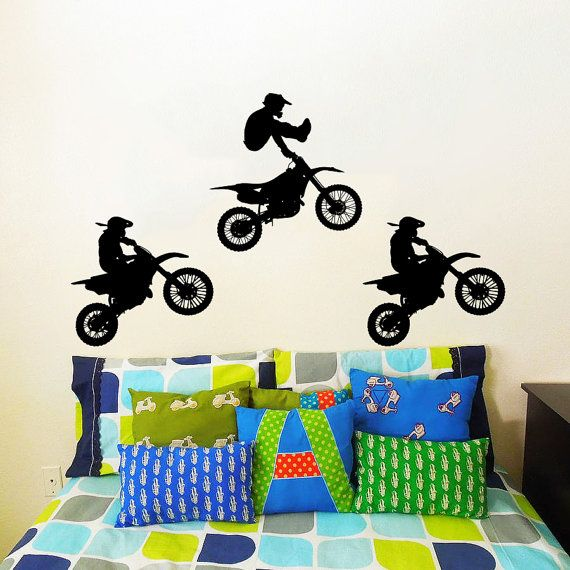 Wall decal vinyl sticker decals art home decor mural jump for Dirt bike wall mural