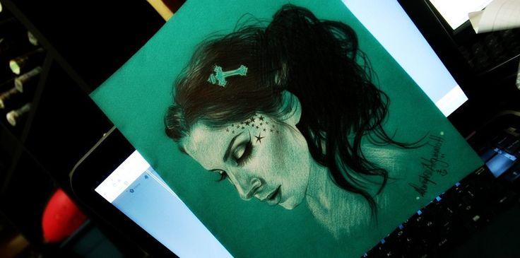 Kat Von D Tattoo Art Cross White Draw Illustration  María José Artgumedo https://www.facebook.com/mariajoseartgumedo