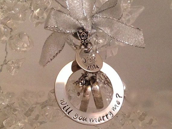 Personalized Will you marry me? Wedding Proposal Engagemet Bridal Ornament with Couples Initials and Year