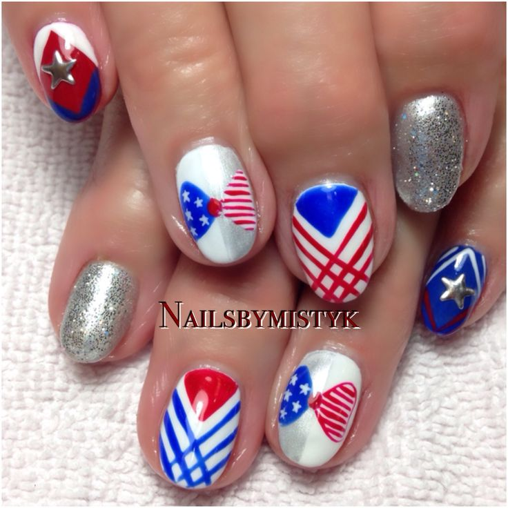 4th of July nail art. Nail art. Shellac nail art