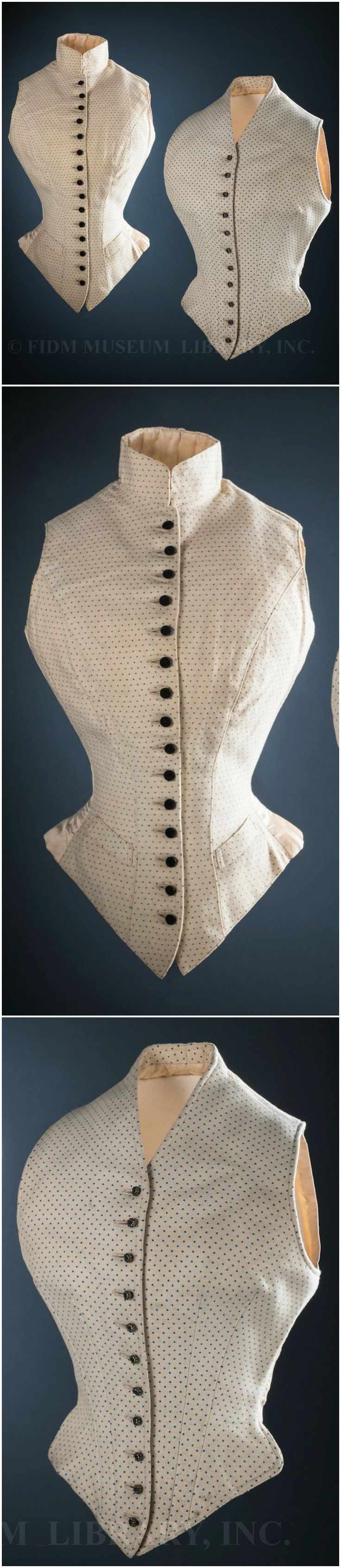 """Waistcoats made for Alexandra, Princess of Wales, by J. Busvine & Co., London, 1890s. Helen Larson Historic Fashion Collection. Via FIDM Museum Blog. FIDM Museum: """"Though masculine in style, the hourglass shape of these dotted wool waistcoats could only have been achieved by a corset—probably a lightly-boned version designed for horseback riding... women typically wore sturdy, masculine-style clothing for the energetic sports of riding and hunting, though they always rode sidesaddle, in…"""