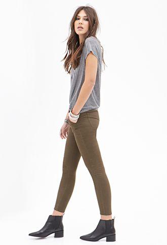 Mid-Rise - Skinny Khaki Pants | FOREVER21 - 2000137132