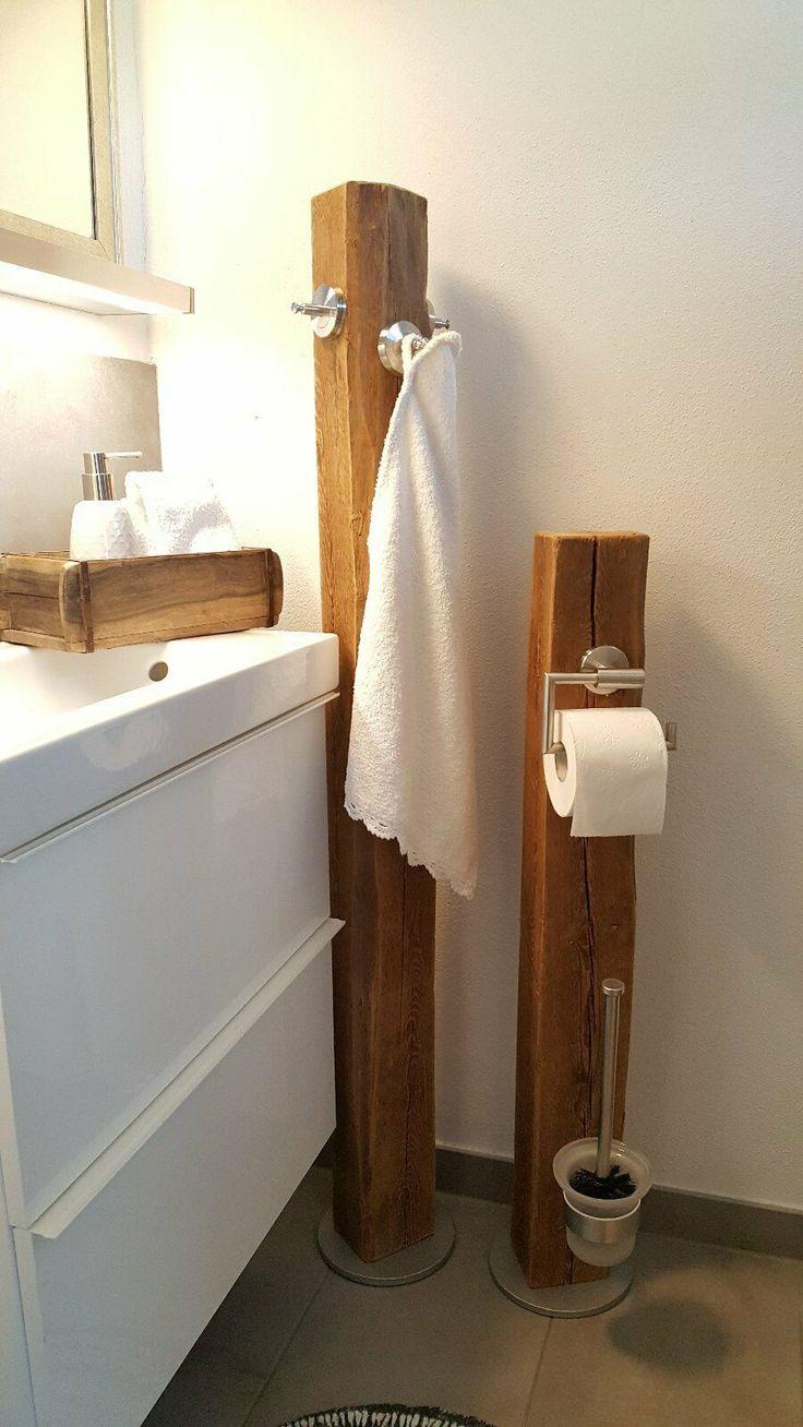 Toilettenpapierhalter Holzbalken Altholz Bad WC