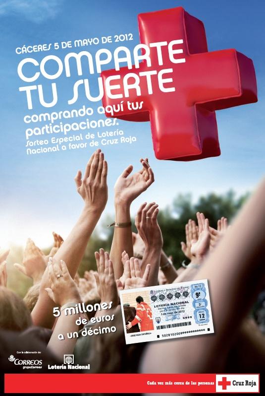 Cartel del sorteo de Lotería Nacional en favor de CR-2012