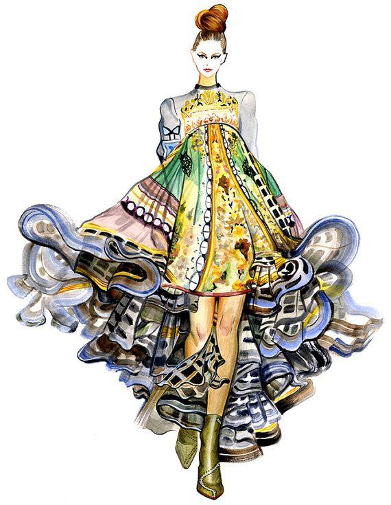 This is beautiful. Runway Fashion Illustration Mary Katrantzou by sunnygu on Etsy