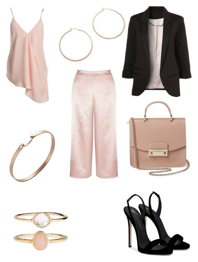 """satin wide leg trousers"" by bethanyyk on Polyvore featuring Miss Selfridge, WithChic, Jennifer Zeuner, Giuseppe Zanotti, Nouvel Heritage, Sans Souci, Furla and Accessorize"