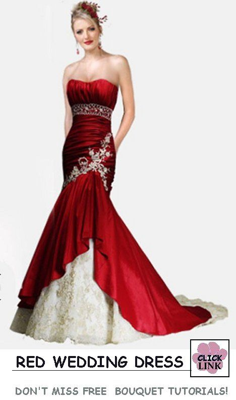 11 best Red Wedding Dresses images on Pinterest | Wedding frocks ...