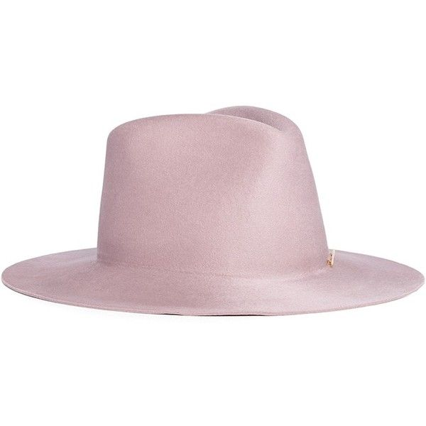 Janessa Leone 'Hannah' wool felt fedora hat found on Polyvore featuring accessories, hats, pink, fedora hat, pink fedora, janessa leone hats, felt hats and felt fedora