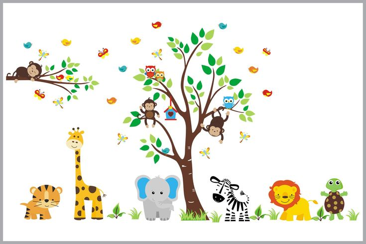 Turtle and Friends Jungle Animal Wall Decals - Baby Animal Stickers - Kids Room Prints - Baby Bump - Shower Gift - https://www.nurserydecals4you.com