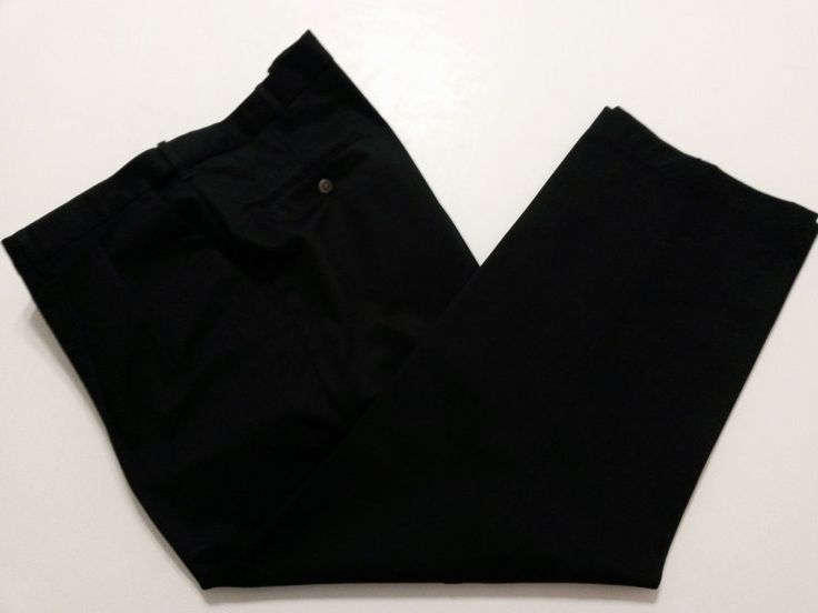 Haggar - Men's Khaki Pants Tag Size 42x29 Black Front Pleats & Expandable Waist  #Haggar #DressPleat