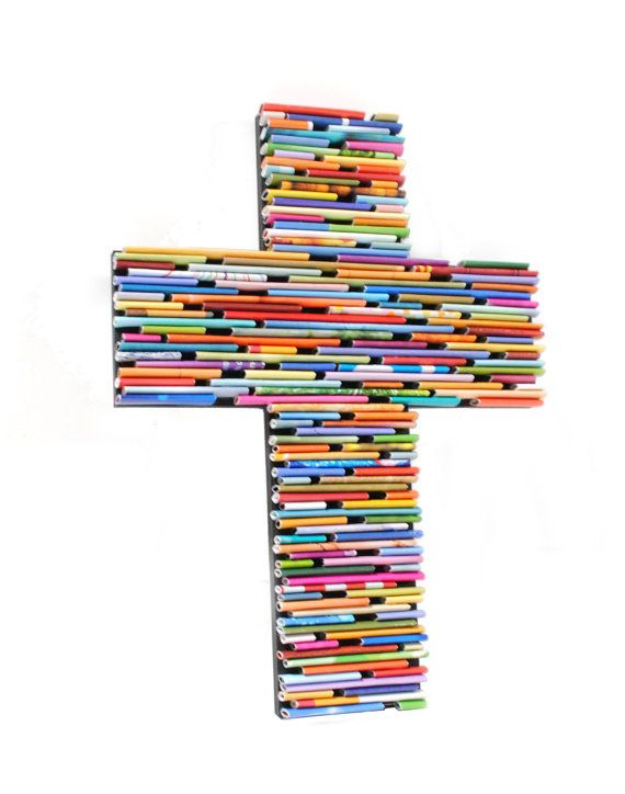recycled magazine cross