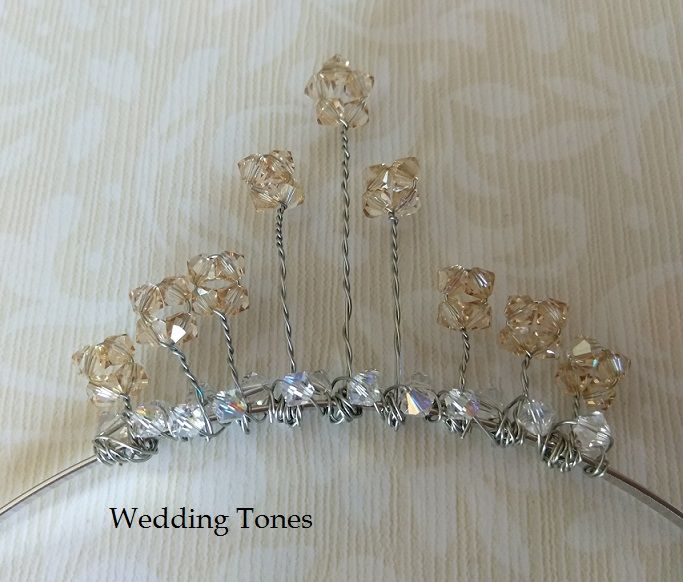 Handmade Champagne and Clear Swarovski Crystals Tiara – Wedding Tones
