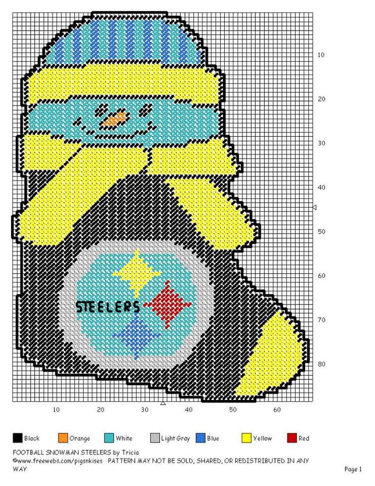 FOOTBALL SNOWMAN STOCKING STEELERS by TRICIA