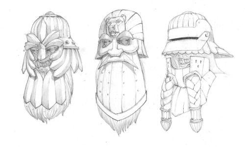 Dwarf helmet concept sketches