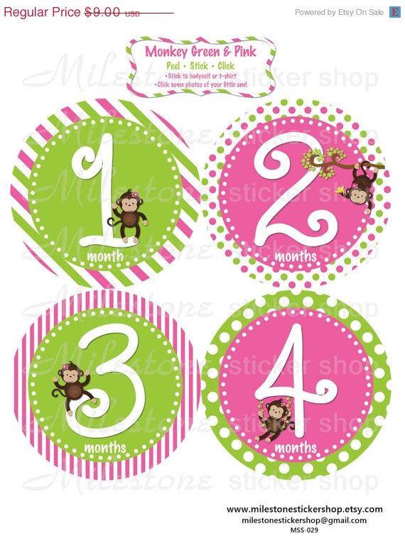 Monkey Green Pink  Monthly Milestone Stickers by MilestoneStickerShop • $9.00