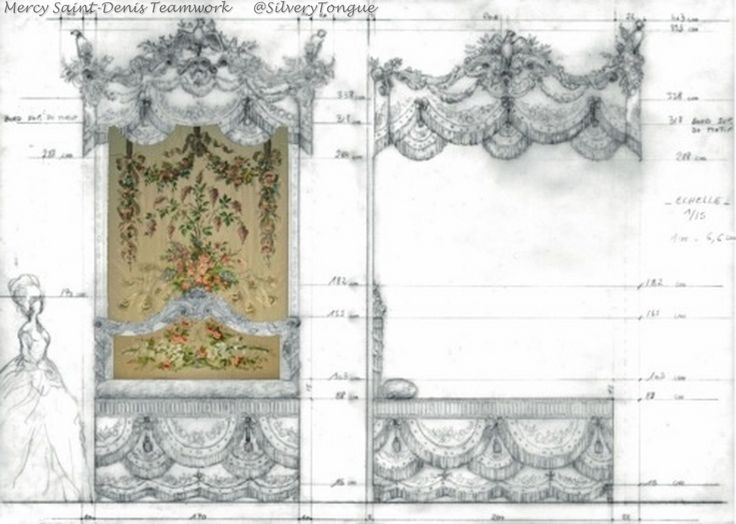 Production design specifications for Marie Antoinette's bed, which was replicated for Sofia Coppola's Marie Antoinette.