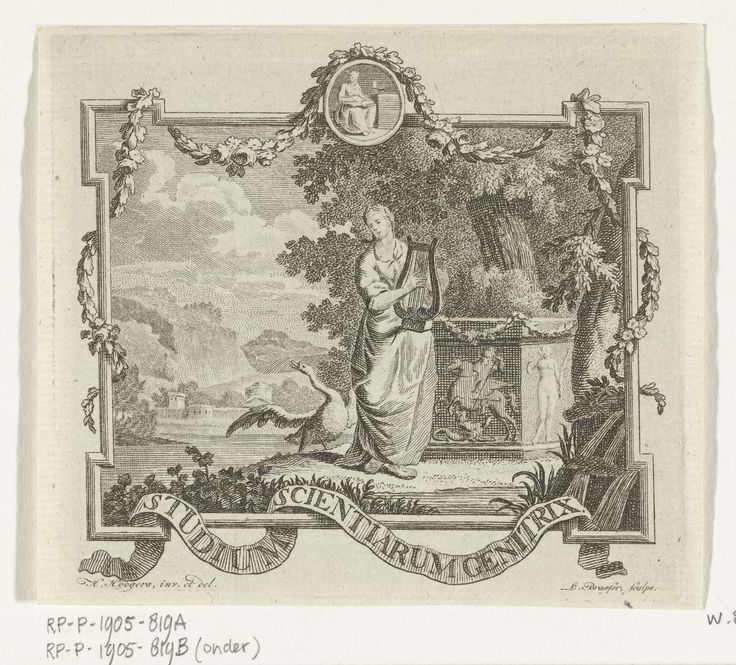 Leendert Brasser | Vignet met Poëzie met lier en zwaan in landschap met omlijsting, Leendert Brasser, 1727 - 1793 | Vignet met vrouwelijk personificatie van de Poëzie die een lier bespeelt op de oever van een water in een zuidelijk landschap. Achter haar staat een sokkel met in reliëf Bellerophon die de Chimaera verslaat, een zwaan op de oever spreidt zijn vleugels. In een klein medaillon is de Waarheid weergegeven. Om een lijst slingeren een guirlande en een banderol met motto Studium…
