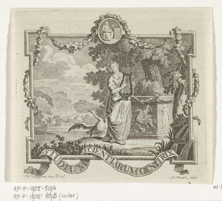 Leendert Brasser   Vignet met Poëzie met lier en zwaan in landschap met omlijsting, Leendert Brasser, 1727 - 1793   Vignet met vrouwelijk personificatie van de Poëzie die een lier bespeelt op de oever van een water in een zuidelijk landschap. Achter haar staat een sokkel met in reliëf Bellerophon die de Chimaera verslaat, een zwaan op de oever spreidt zijn vleugels. In een klein medaillon is de Waarheid weergegeven. Om een lijst slingeren een guirlande en een banderol met motto Studium…