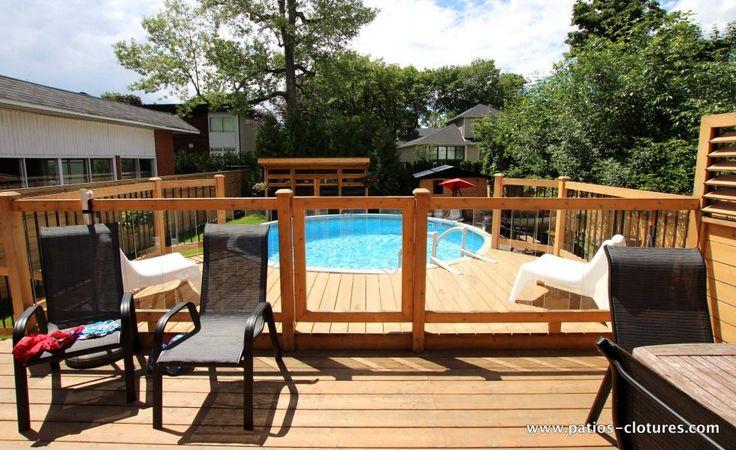 Rampe de verre pour deck de piscine hors terre, patio La France