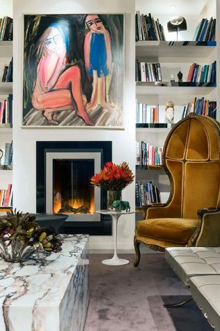 Interior Design | Living space by David Hicks. He is noted for using bold colours, mixing antique and modern furnishings, and contemporary art for his famous clientele.