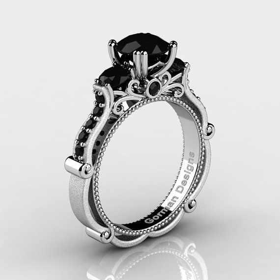 Classic Italian 14K White Gold 1.5 Ct Black by GormanDesigns