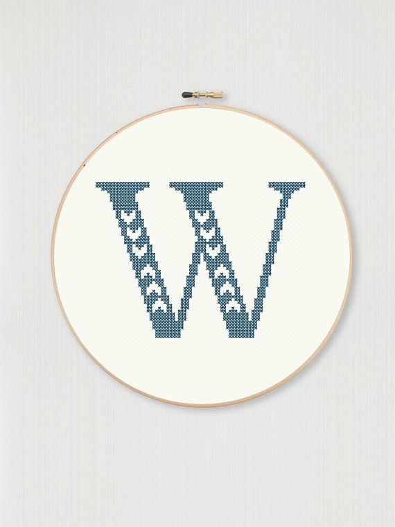 This counted cross stitch pattern allows you to create your own embroidered monogram with your choice of fabric and thread color. The
