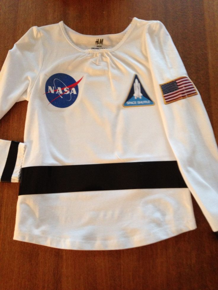 Astronaut top White t-shirt with iron-on labels print from google onto TAP paper! It's amazing