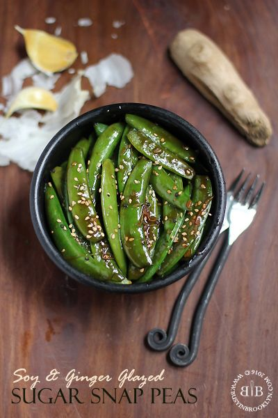 Soy and ginger glazed sugar snap peas