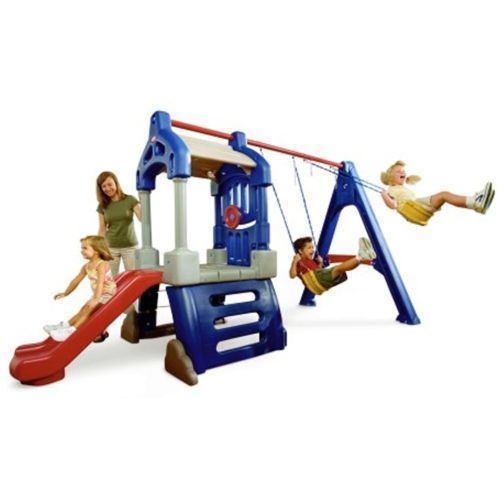 Swingsets for Outside Little Tikes Clubhouse Swing Set Toys Patio Trampoline Toy #LittleTikes