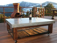 Learn how to Make a Concrete Coffee Table for your Patio. The base is simple to build, and the concrete table top will look amazing.