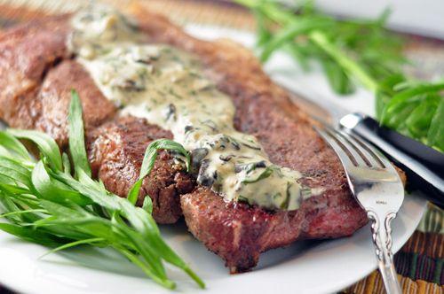 Pork Blade Steak with Tarragon-Mushroom Cream Sauce