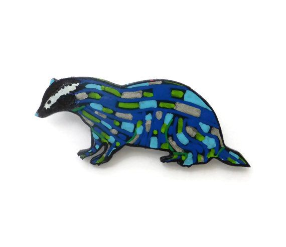 Painted Badger Brooch Animal Lovers Gift Woodland by Larryware